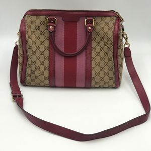 Gucci Boston Bag tan with red and pink stripe